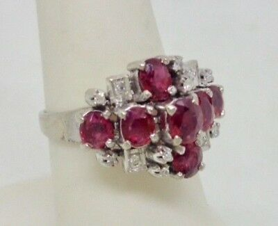 Vintage Hallmarked 18K White Gold & Sterling Natural Ruby Diamond Ring Size 7.5