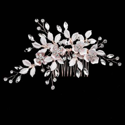Fashion Rose Gold Hair Comb Hairpins Crystal Handmade Flower Bridal Hair Jewelry