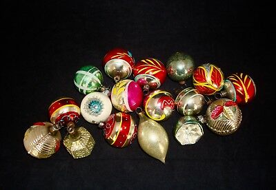 Vintage Lg Lot 17 Antique Mercury Glass Christmas Ornaments European