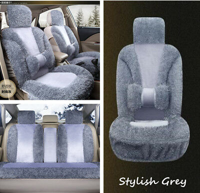 Stylish Gray Plush Car Front Seat Cover +3in1 Rear Row Cushion Comfort Soft Pad