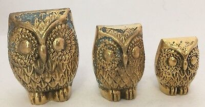 Vintage owl Solid Brass 3 piece figurine statue set paper weight family lot old