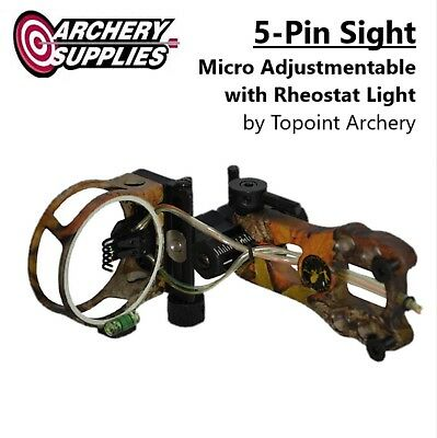 5-Pin Micro Adjustments Tool-less Sight w/ LED Light for Compound Bow - Camo