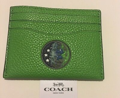 COACH X NASA MEN'S LEATHER Earth 🌏 ID CARD CASE MINI WALLET Neon Green 33402
