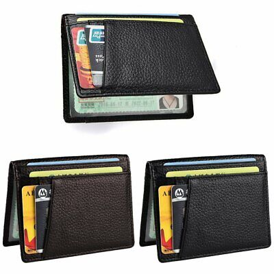 Men Slim Leather Bifold Wallet Thin ID Credit Card Holder Mini Money Case KU