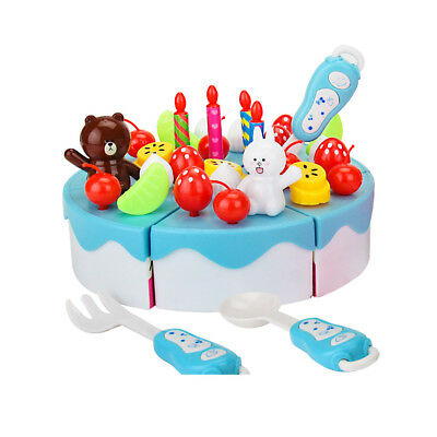 39Pcs DIY Cutting Pretend Food Play Birthday Cake Party Toy Set For Kids Toddler