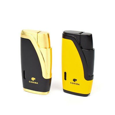 COHIBA cigar double flame straight Cigar lighter windproof puncher lighter