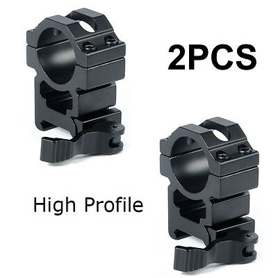 "2PCS QD Quick Release 1"" inch High Profile Scope Ring Fit 20mm Weaver Rail Mount"