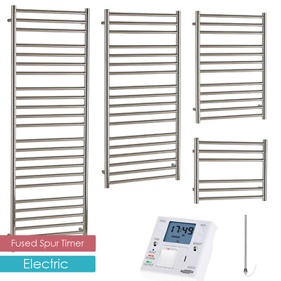 AURA Steel ELECTRIC Stainless Steel Heated Towel Rail With 24/7 FUSED SPUR TIMER