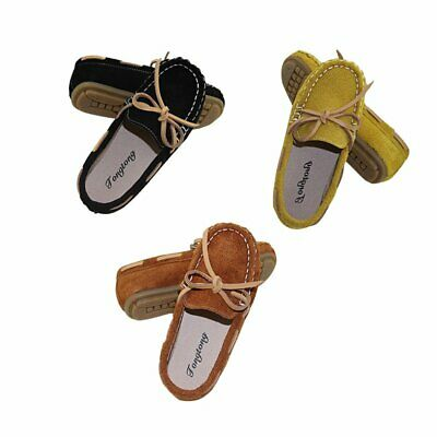 Kids Loafers Flat Slip On Suede Leather Moccasins Boys Girls Soft Casual Shoes