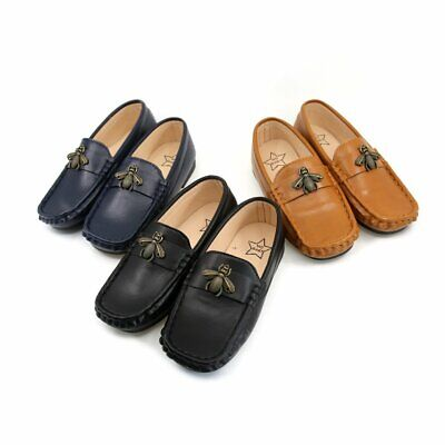 Kids Boys Slip-on Loafers PU Leather Soft Casual Moccasins Shoes Toldder Child