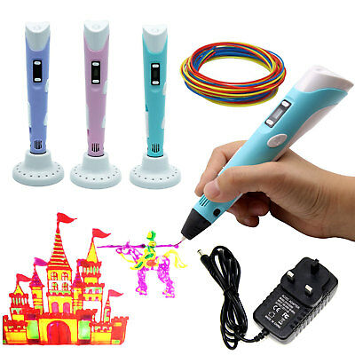 3D Doodle Printing Pen+LCD Screen+ UK Plug +3 Free PLA Filaments as Gift Set