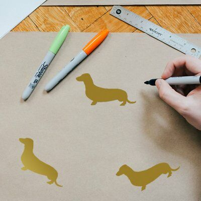 6 Sheets Cute Dachshund Pattern Wall Stickers Decals Pvc Wall Art Stickers M2