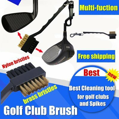 Black Dual Bristles Golf Club Groove Ball Cleaning Brush Cleaner&Snap Clip SM
