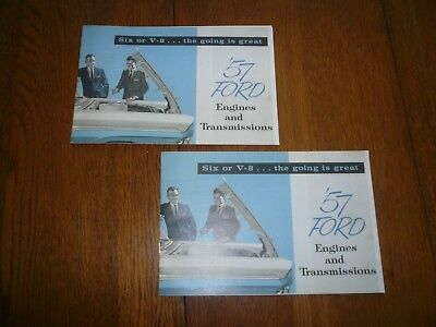 1957 Ford Engines and Transmissions Car Sales Brochure Catalog Six or V-8 - Two