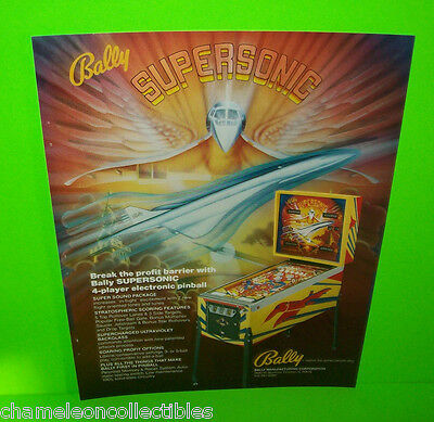 SUPERSONIC By BALLY 1979 ORIGINAL PINBALL MACHINE PROMO SALES FLYER VERSION #2