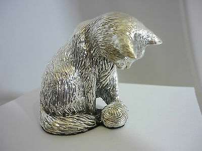 Stunning Hallmarked Sterling Silver Cat Playing With A Ball Of Wool Statue