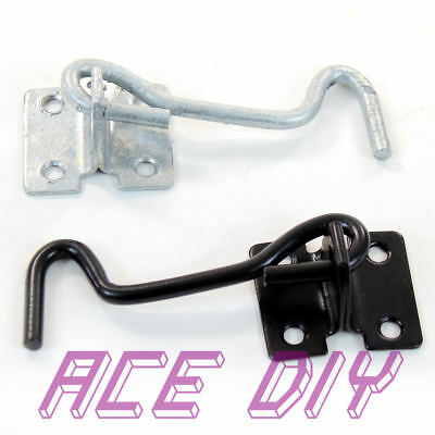 Cabin Hook and Eye   Black or Galvanised Gate Shed Door Latch Catch Lock Hooks