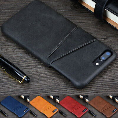 For iPhone 6 7 8 Plus Xr Xs Max Wallet Credit Card Slot Leather Case Back Cover