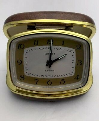Vintage Europa 2 Jewels Travel Alarm Clock Hard Brown Case Made In Germany
