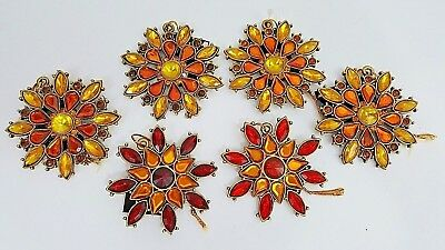 Gold & Red Jeweled Ornaments - Set Of 6 - Robert Stanley - NWT