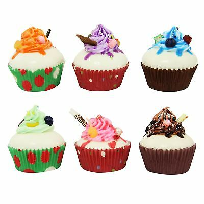 Set of 6 Artificial Magnetic Cupcakes! Fake Fruit Bread Confectionery Dessert