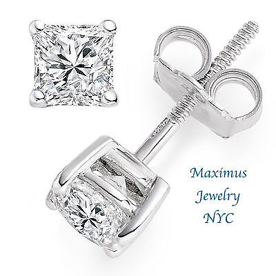 Princess Created Diamond Solitaire Stud Earrings 14k White Gold Screw Back 2ct
