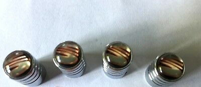 SEAT Tyre Valve Dust Caps 4 x Chrome RED LOGO