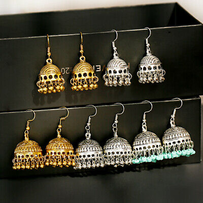 Indian Bollywood Vintage Women's Antique Tribal Ethnic Small Bell Drop Earrings