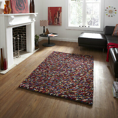 New Modern 100% Hand Knotted Wool Shaggy Heavy Thick Knot Pebbles by Think Rugs