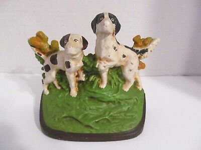 Antique Numbered Hubley Hunting Dogs Cast Iron Original Paint Doorstop