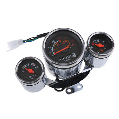 12V Retro Motorcycle Multifunction Speedometer mph kph Gas Gauge Assembly