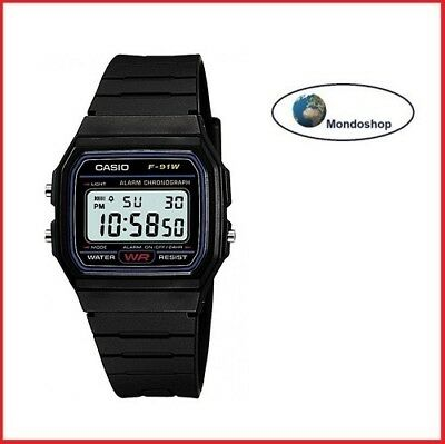 Orologio Digitale Casio F-91W-1Yer Vintage Retro Uomo/Donna Digitale Nero Black