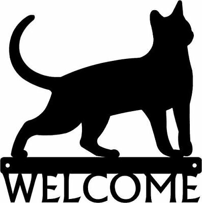 Black Welcome Sign Cat #17 - 12 inch wide - Made in USA