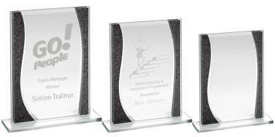 Grey/Silver Glass Star Plaque - available in 3 sizes -LOGO & TEXT ENGRAVED F.O.C