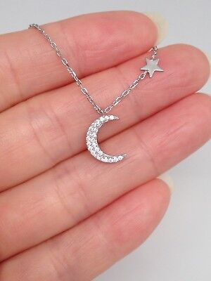 Sterling Silver 925 Cz Crescent Moon And Star Pendant Necklace 10mm
