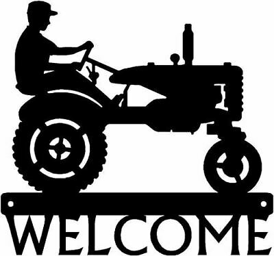 Farm Welcome Sign Tractor and Farmer - 12in wide Made in USA - Country Decor