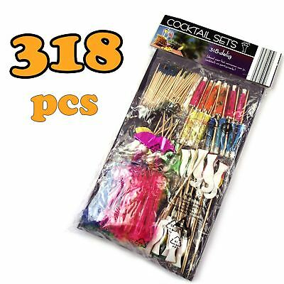 318 Piece Cocktail Drink Accessory Pack - Party Bar Umbrella Picks Fruit Straw