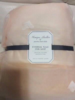 Pottery Barn Kids Monique Lhuillier Ethereal Tulle Crib Bed Skirt Nursery Pink