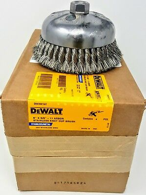"(4-pack )DEWALT DW49162 6""x 5/8""-11 Knotted Stainless Steel Wire Cup Brush *USA*"
