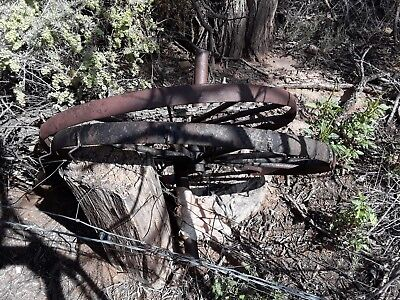 Old Vintage Antique Steel Spoke Wagon Cart Wheels found on the farm