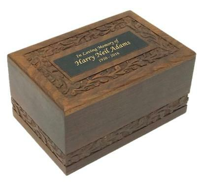 Hand Carved Solid Wood Cremation Urn with Custom Engraving - Medium size