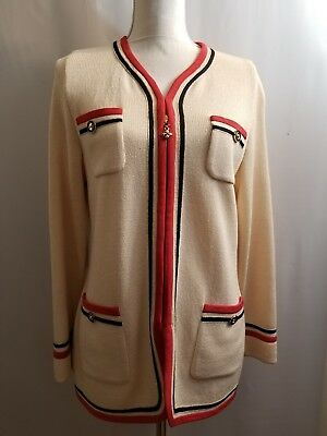 St John Collection By Marie Gray Jacket Cardigan Ivory Black Red Trim Size 8
