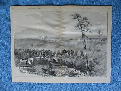 # 1885 Civil War Print - Gen. Custer Charging & Capturing 3 Guns at Culpepper VA