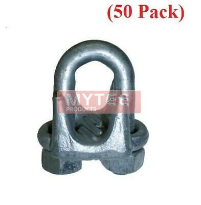 "(50 Pack) Forged Wire Rope Clips 1/4"", Wire Rope Turn Back 4.75"""