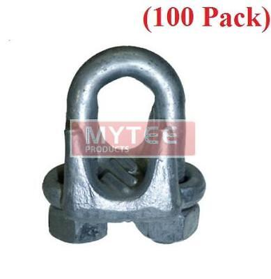 "(100 Pack) Forged Wire Rope Clips 1/8"", Wire Rope Turn Back 3.25"""