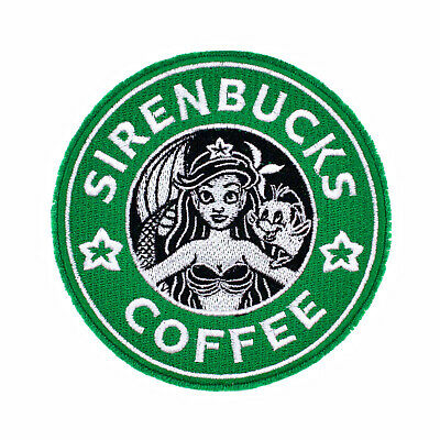 707a8b9ed Disney The Little Mermaid Mock Starbucks Coffee Logo Embroidered Iron-On  Patch