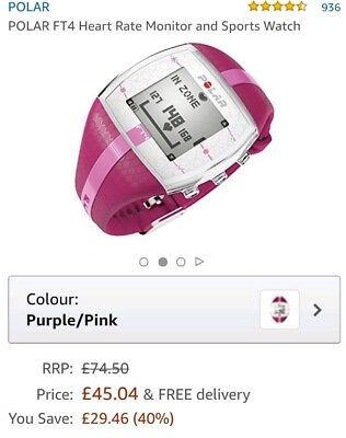 Polar Ft4 Heart Rate Monitor Hrm Pink 1549 Picclick Uk