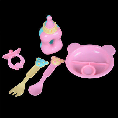 5pcs Doll Tableware for 43cm Baby Born Zapf Doll Accessories Kids Pretend FO