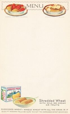 1920s NABISCO SHREDDED WHEAT CEREAL LITHO PAPER DINER MENU COLORFUL GRAPHICS