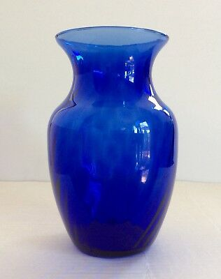 Blue Cobalt Glass Flower Vase With Frosted White Swirl Accent